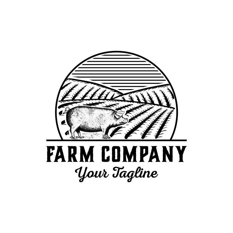 Vecteur tiré par la main de conception de logo de ferme - inspiration de conception de logo de porc de cru - illustration stock