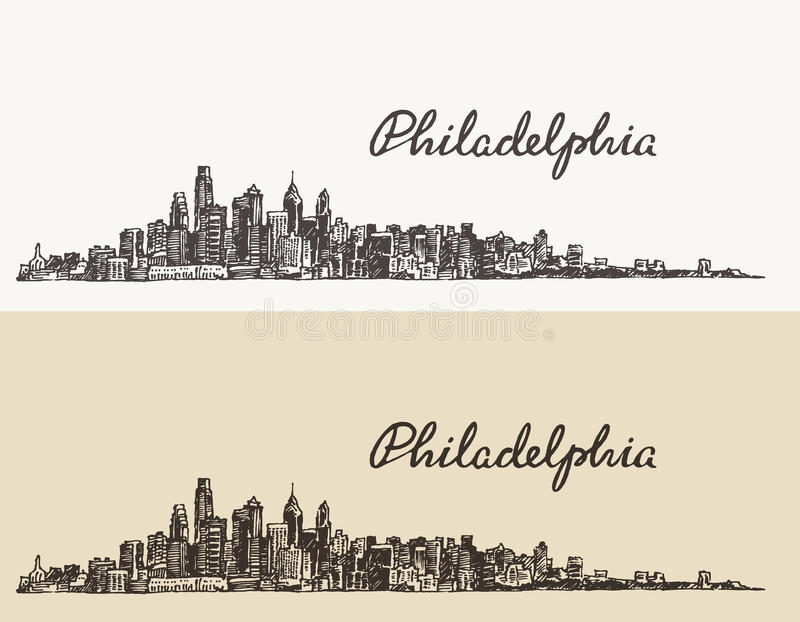 Vecteur tiré par la main de croquis d'horizon de Philadelphie illustration stock