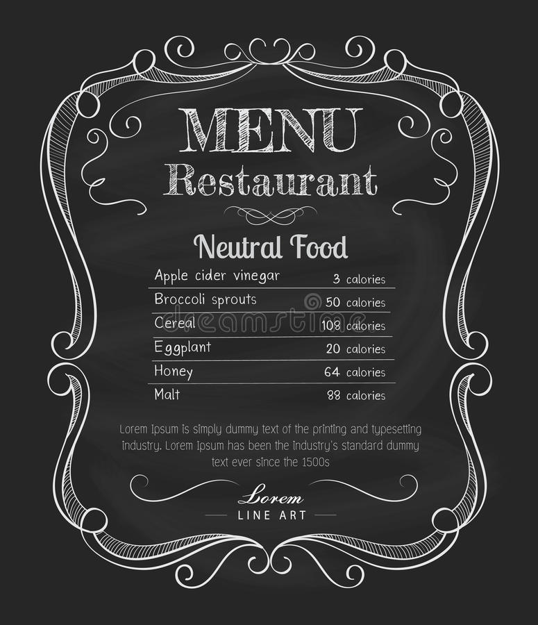Vecteur tiré par la main de label de cadre de vintage de tableau noir de menu de restaurant illustration de vecteur