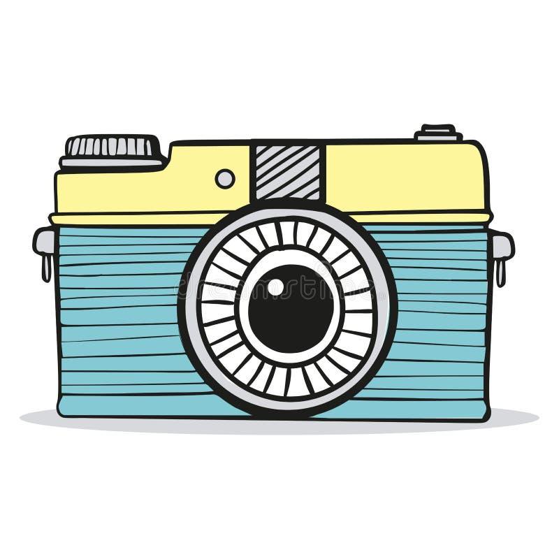 Vecteur tiré par la main de rétro griffonnage de caméra illustration libre de droits