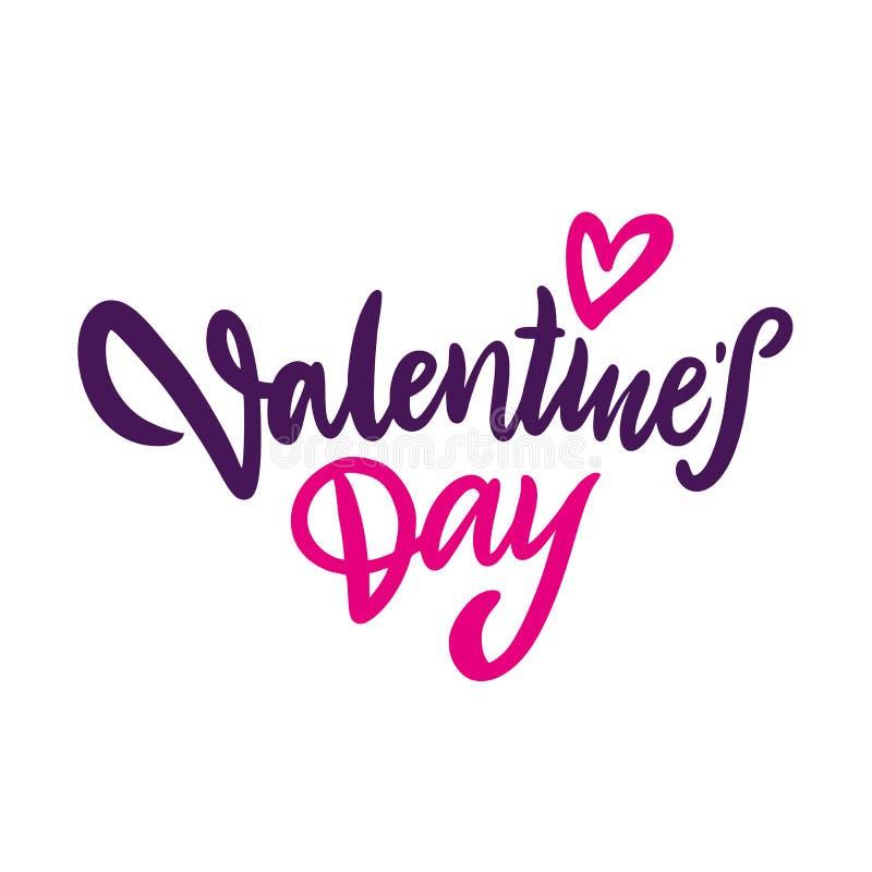 Vecteur tiré par la main de Saint-Valentin heureuse marquant avec des lettres l'affiche positive de typographie d'inscription, ex illustration libre de droits