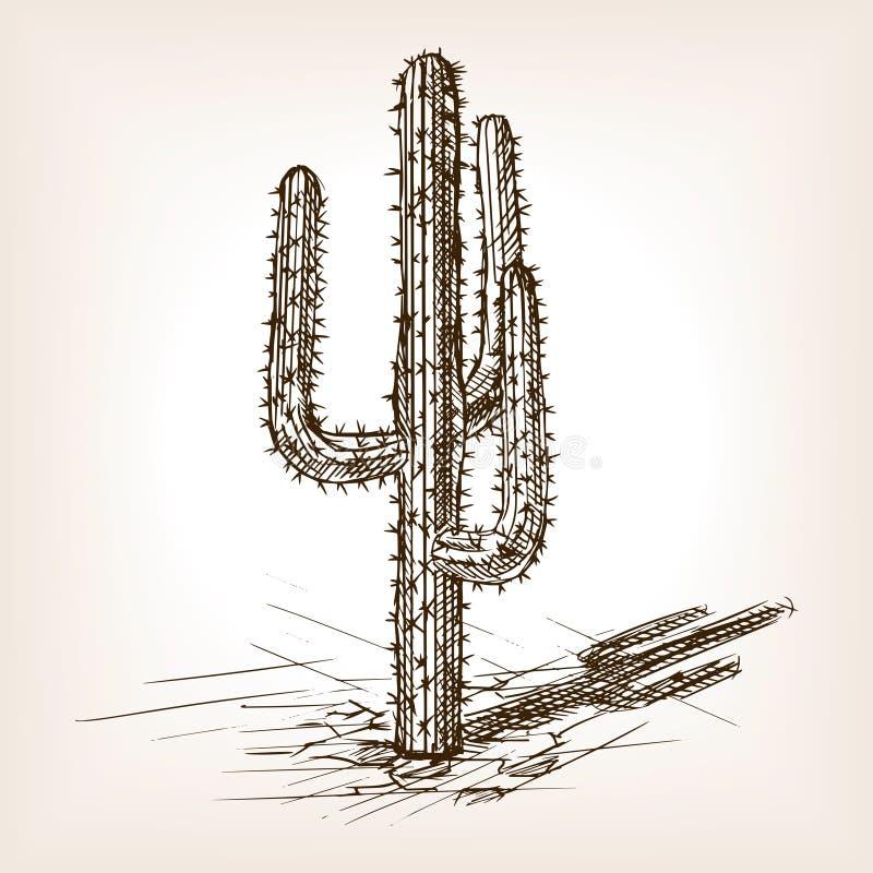 Vecteur tiré par la main de style de croquis de cactus illustration de vecteur