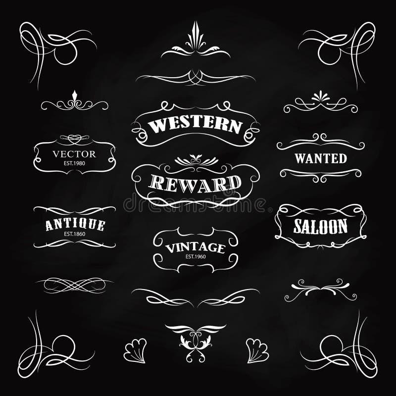 Vecteur tiré par la main de vintage de bannières de tableau noir d'insigne occidental illustration libre de droits