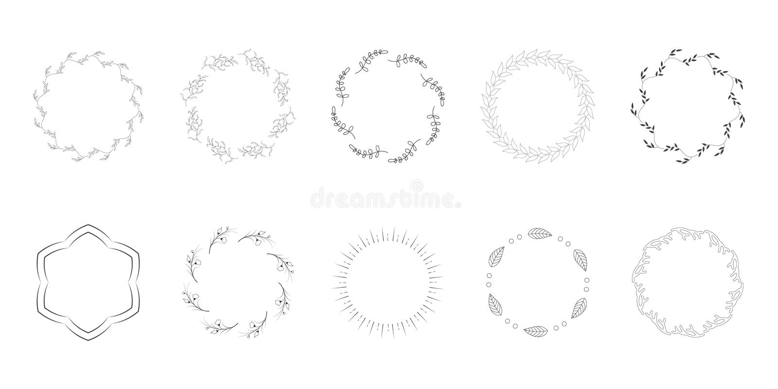 Vecteur tiré par la main Logo Elements Leaf Vector d'Art Floral Frames Wreaths Floral d'agrafe illustration libre de droits