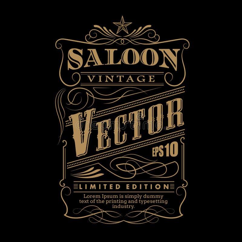 Vecteur tiré par la main occidental de vintage de frontière de label de cadre illustration de vecteur