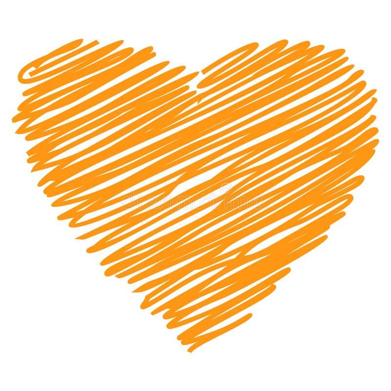 Vecteur tiré par la main orange de croquis de coeur illustration stock