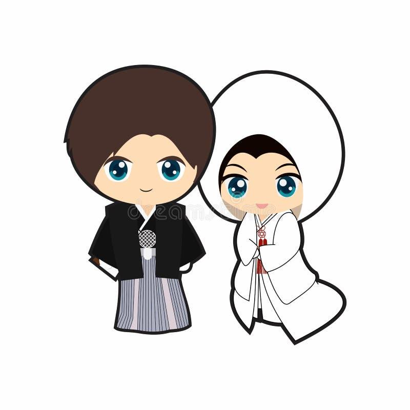 Vecteur traditionnel de japanesse mignon de mariage illustration de vecteur