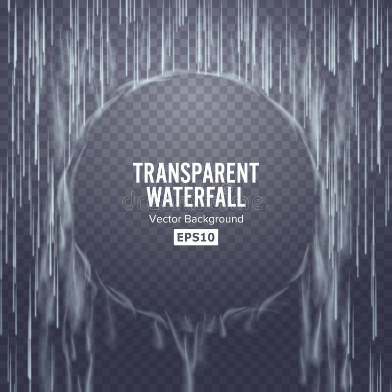 Vecteur transparent de cascade Texture en baisse abstraite de l'eau Nature ou mur artificiel de baisses de l'eau bleue Fond Check illustration de vecteur