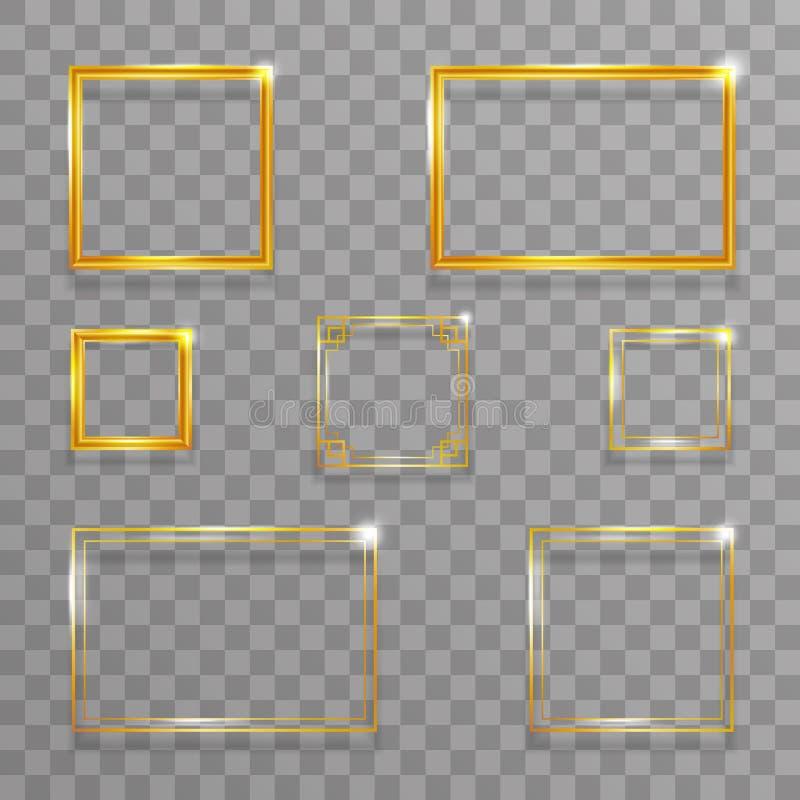 Vecteur transparent de fond d'art de cadre d'or de décoration de calibre de calibre abstrait géométrique d'or créatif de concepti illustration stock