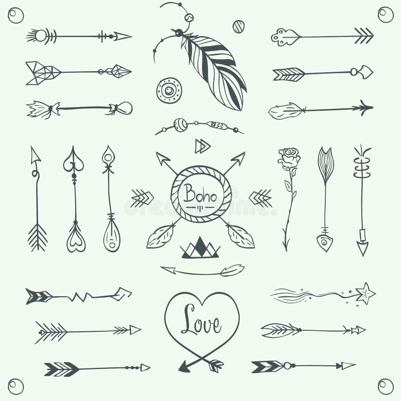 Vecteur tribal tiré par la main de flèches Illustration de style de Boho illustration stock