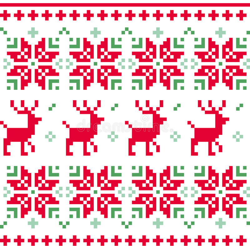 Vecteur tricoté sans couture nordique de modèle de Noël illustration libre de droits