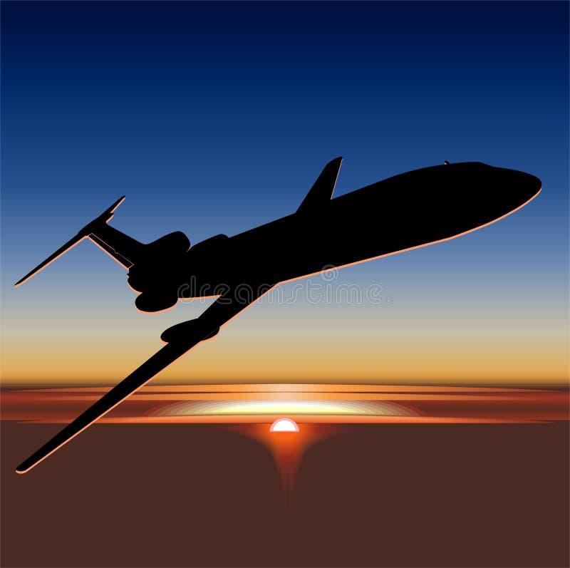 Vecteur Tu-154 au lever de soleil illustration stock