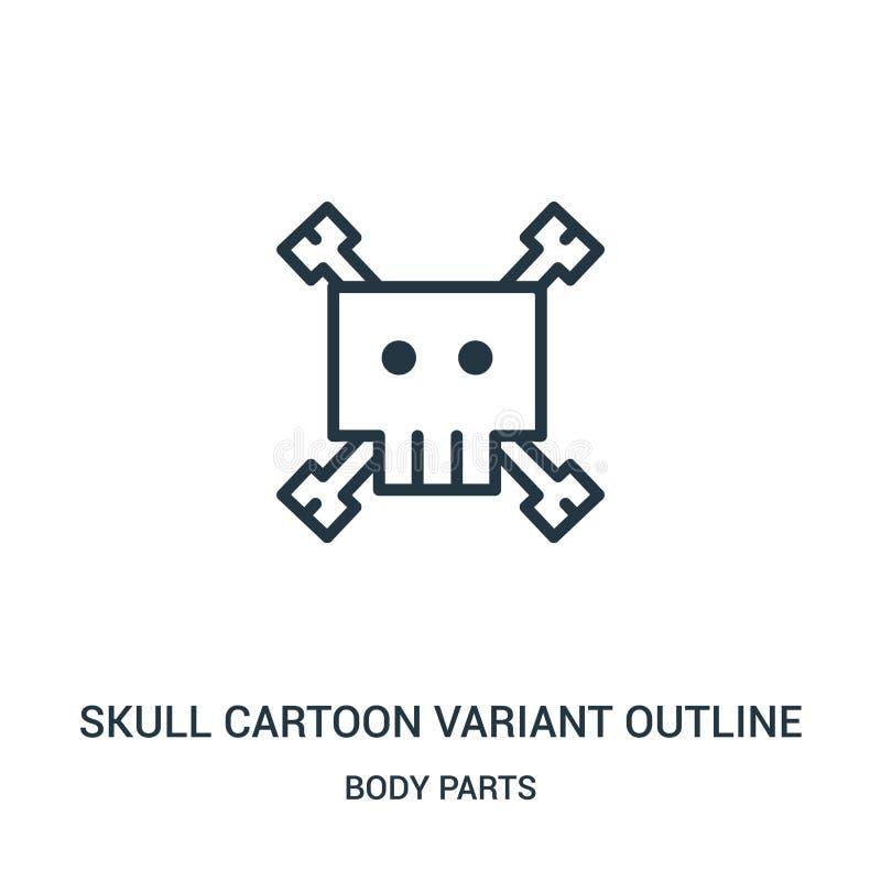 vecteur variable d'icône d'ensemble de bande dessinée de crâne de collection de parties du corps Ligne mince vecteur variable d'i illustration de vecteur