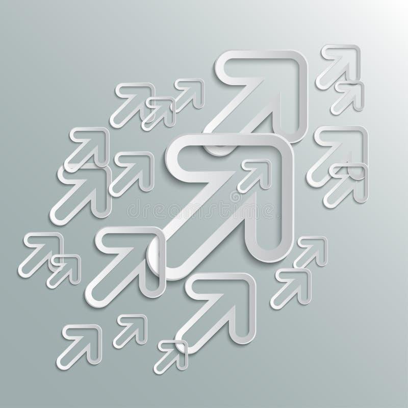 Vecteur vers le haut dirigé par flèches blanches de groupe - illustration de vecteur