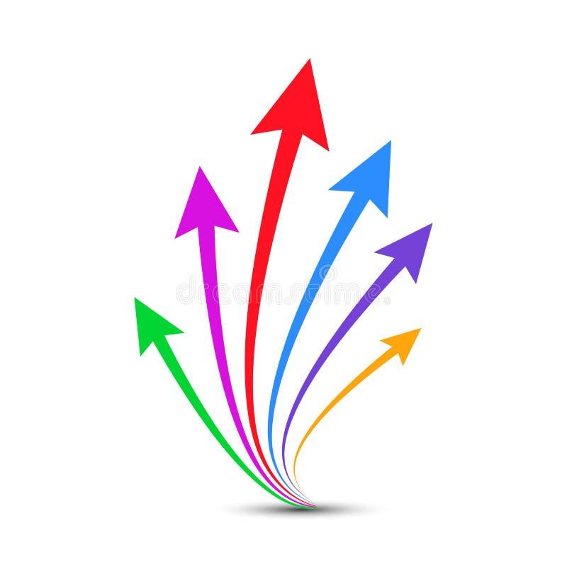 Vecteur vers le haut dirigé par flèches de groupe - illustration libre de droits