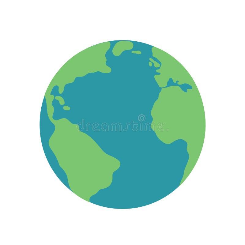 Vecteur vert-bleu d'icône d'illustration de globe de carte de la terre de planète illustration stock