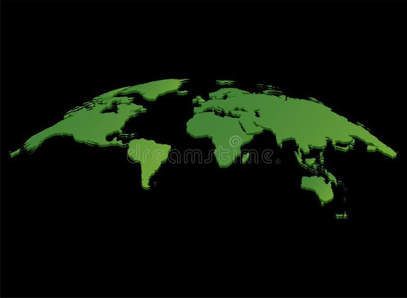 Vecteur vert de carte du monde d'isolement sur le fond noir illustration libre de droits