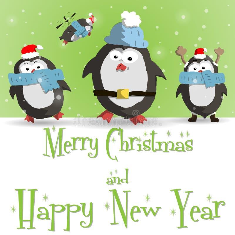 Vecteur vert de carte de voeux de pingouins de nouvelle année illustration libre de droits