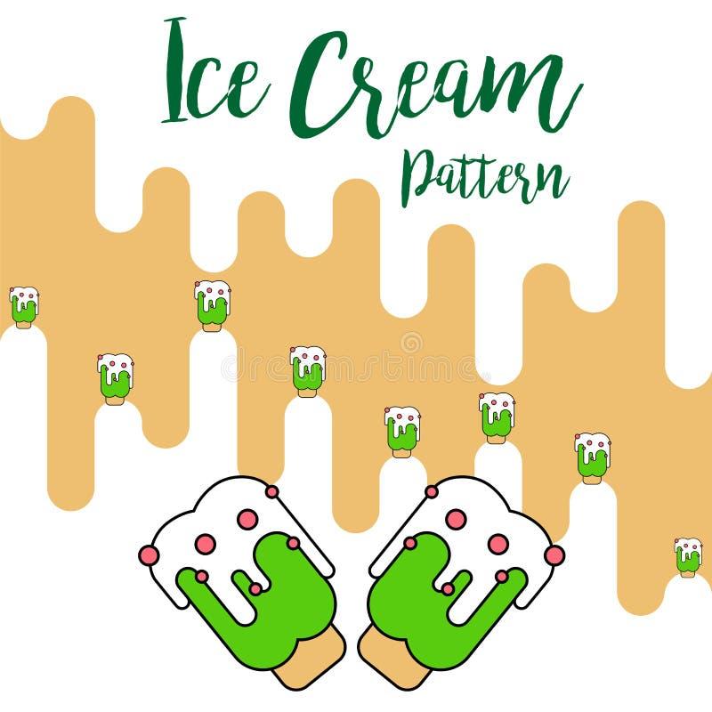 Vecteur vert de modèle de crème glacée d'impression illustration libre de droits