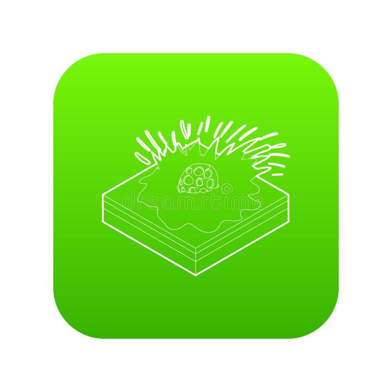 Vecteur vert en baisse d'icône de météore illustration stock