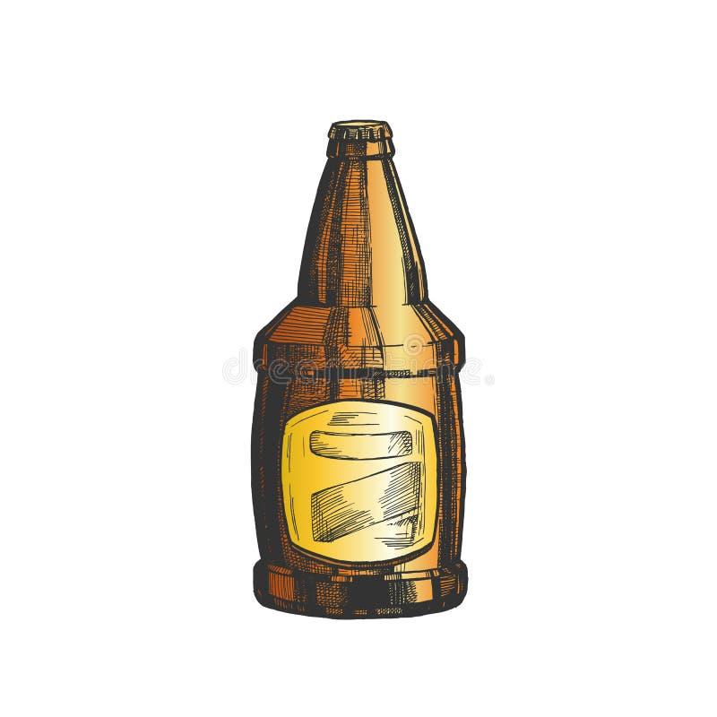 Vecteur vide de label de couleur tirée par la main de bouteille en verre illustration libre de droits
