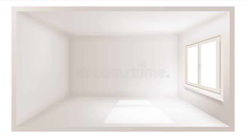 Vecteur vide de pièce Mur blanc Hublot en plastique Intérieur tridimensionnel Conception d'intérieur appartement 3d réaliste illustration de vecteur
