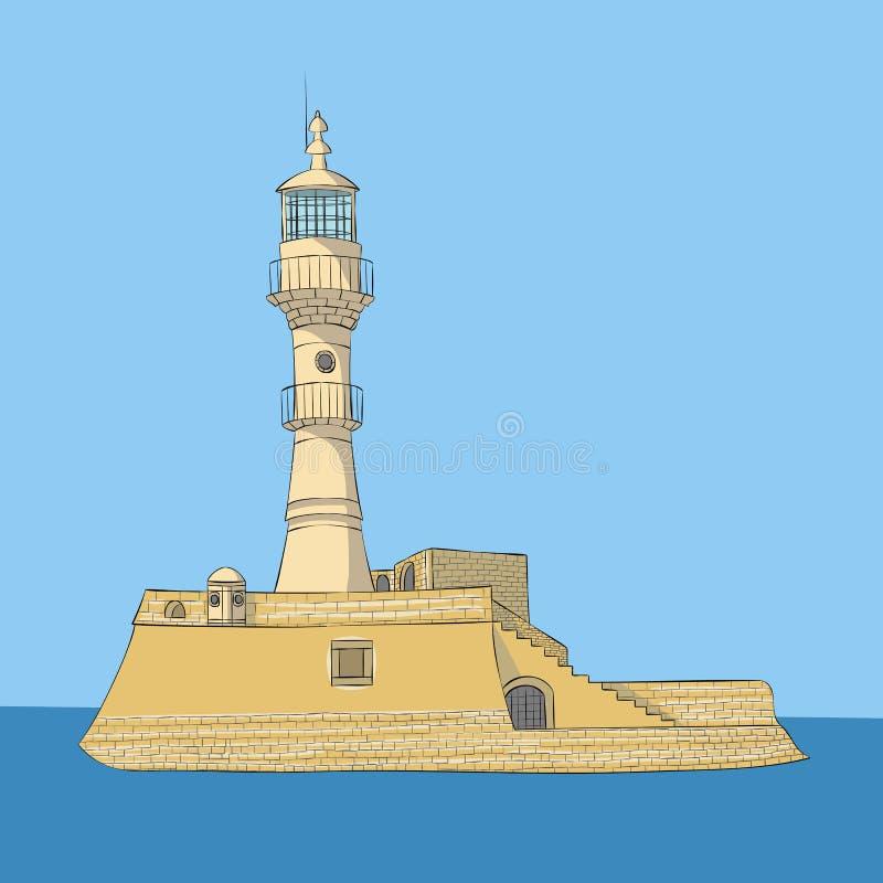 Vecteur Vieux phare en pierre dans Chania illustration libre de droits