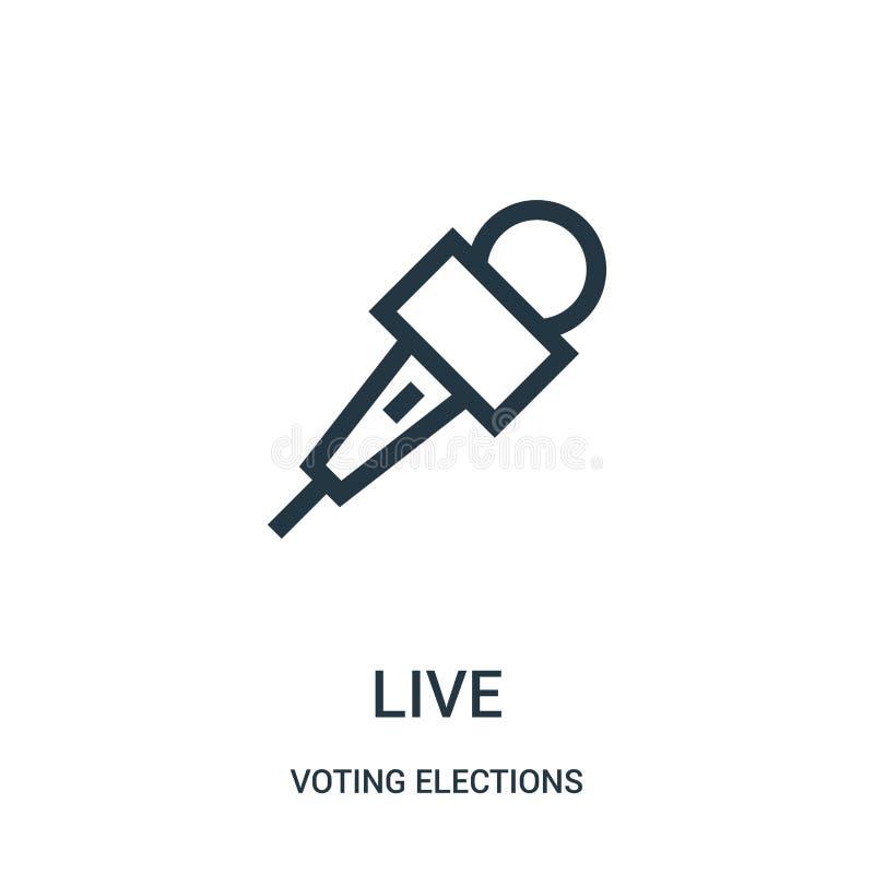 vecteur vivant d'icône de la collection de vote d'élections Ligne mince illustration vivante de vecteur d'icône d'ensemble illustration stock