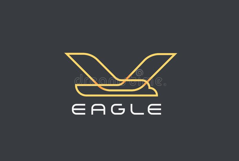Vecteur volant de conception d'Eagle Bird Logo Airlines geo illustration libre de droits