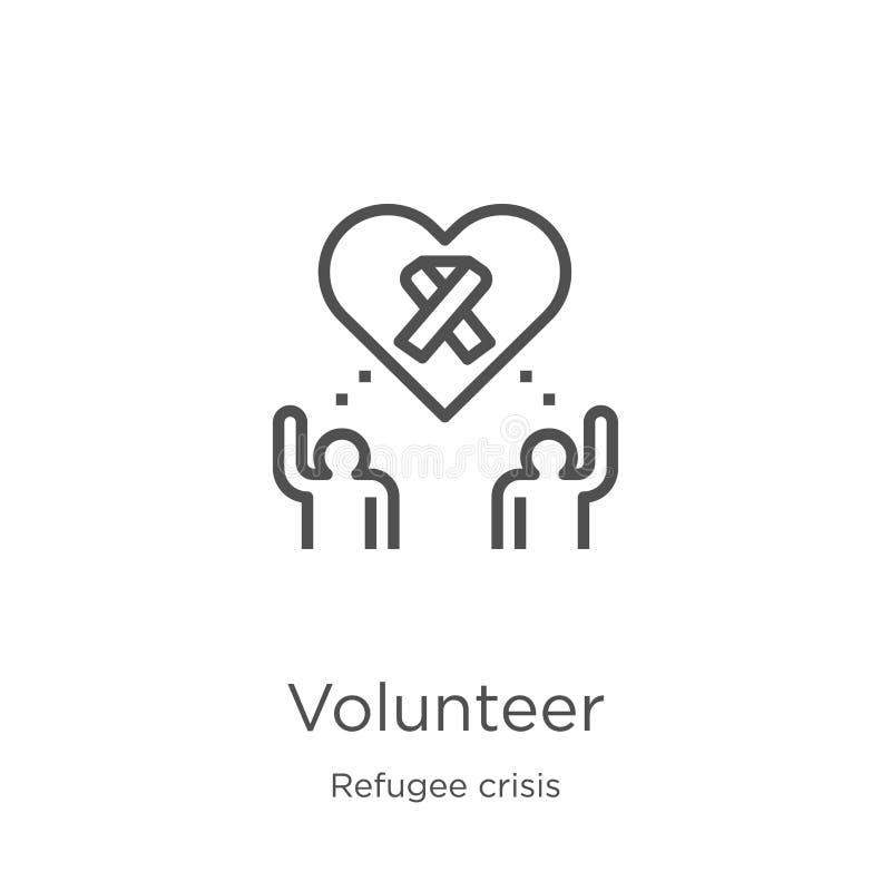 vecteur volontaire d'icône de collection de crise de réfugié Ligne mince illustration volontaire de vecteur d'icône d'ensemble Co illustration de vecteur
