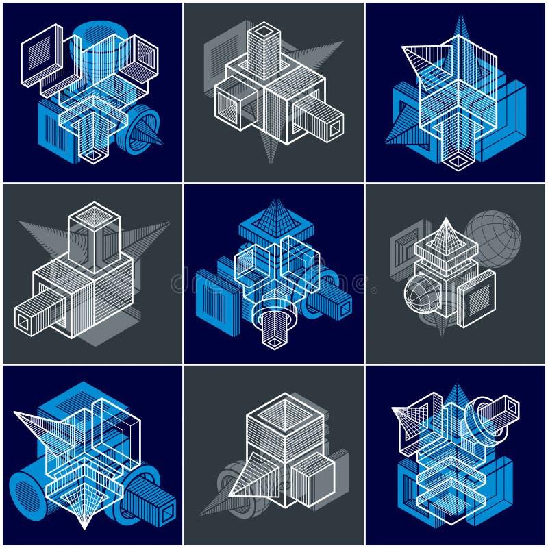 Vecteurs abstraits, formes 3D géométriques simples réglées illustration de vecteur