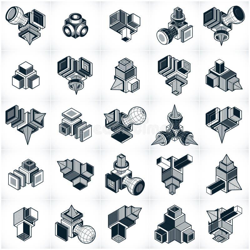 Vecteurs abstraits, formes 3D géométriques simples réglées illustration libre de droits