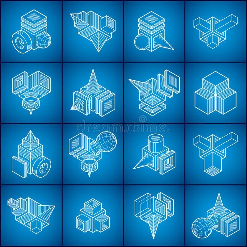 Vecteurs abstraits, formes 3D réglées illustration libre de droits