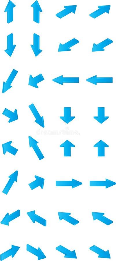 32 vecteurs de direction bleus isom?triques de fl?ches illustration libre de droits