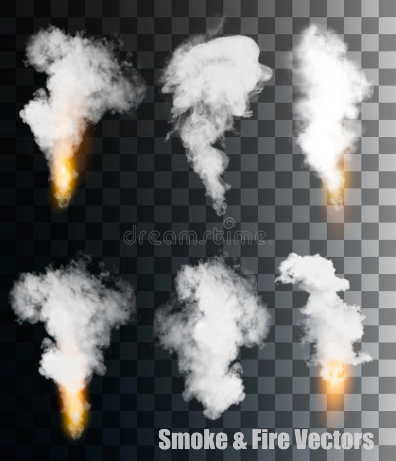 Vecteurs de fumée et du feu sur le fond transparent illustration libre de droits