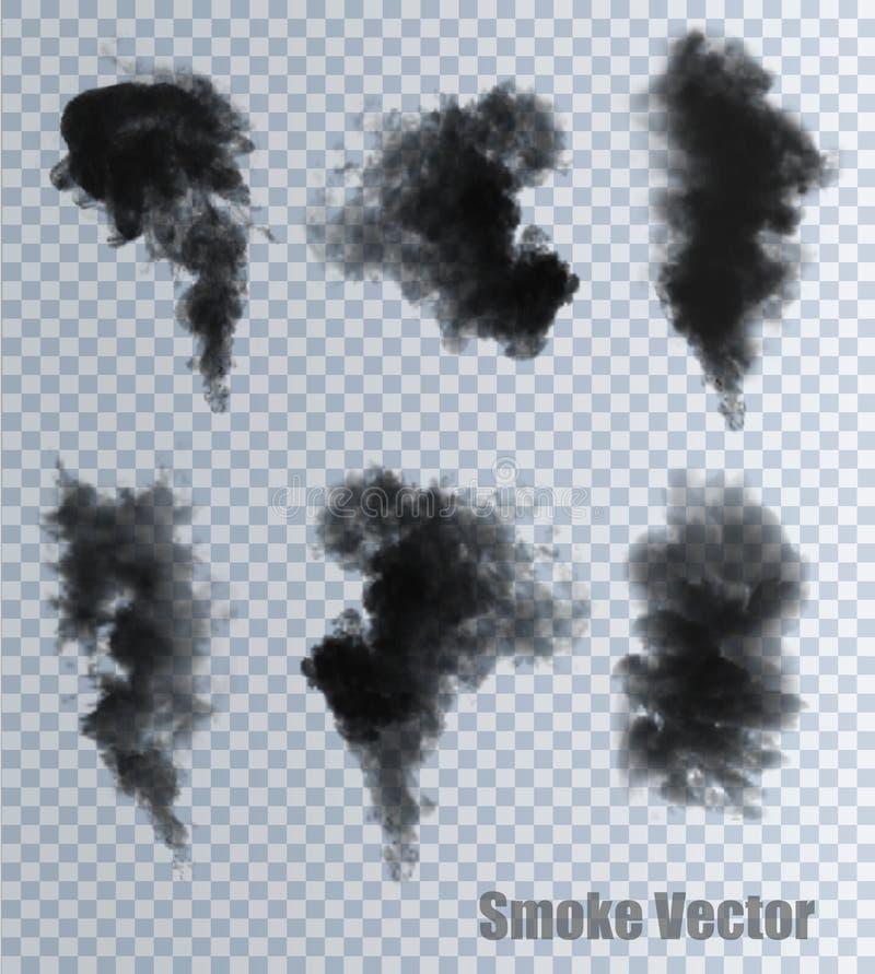 Vecteurs de fumée sur le fond transparent illustration de vecteur