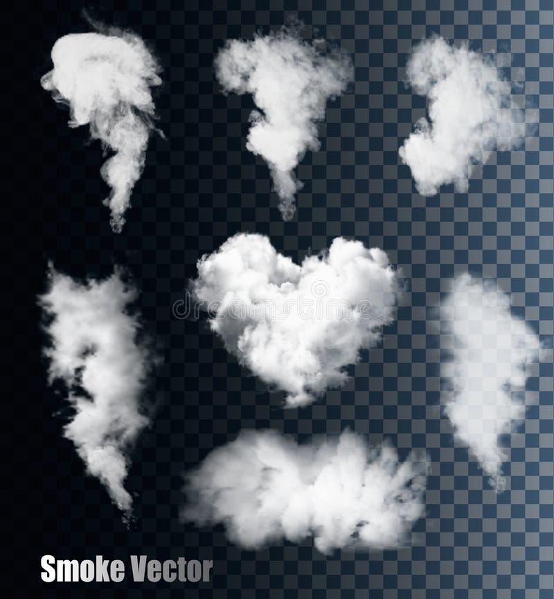 Vecteurs de fumée sur le fond transparent illustration stock