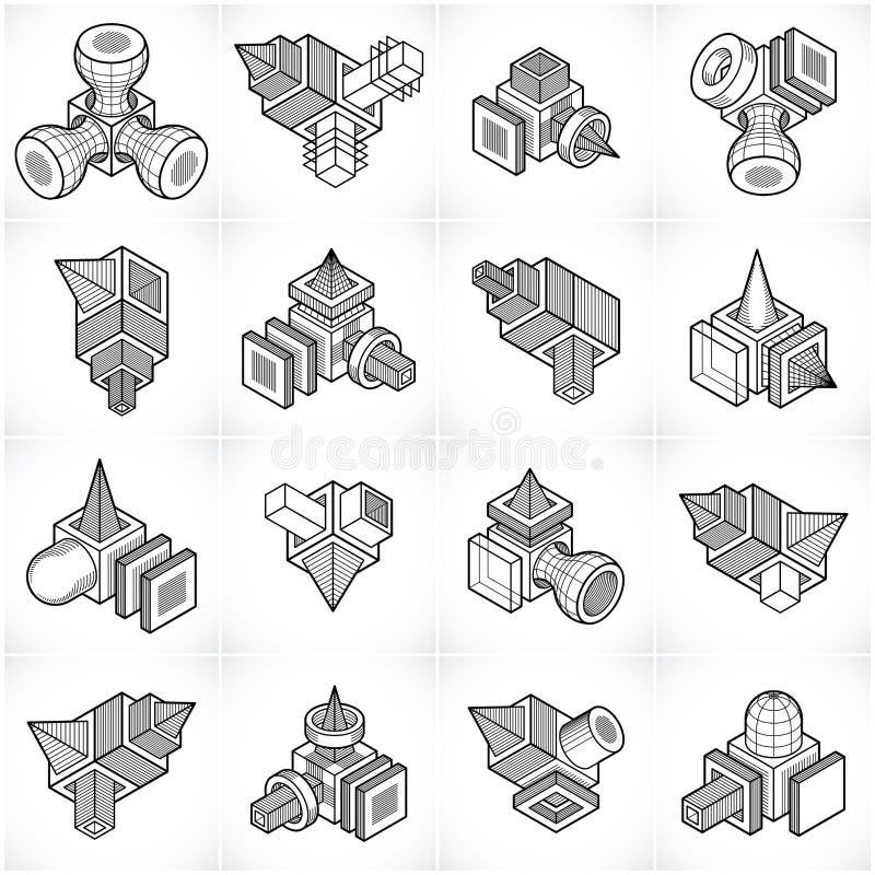vecteurs de l'ingénierie 3D, collection abstraite de formes illustration stock