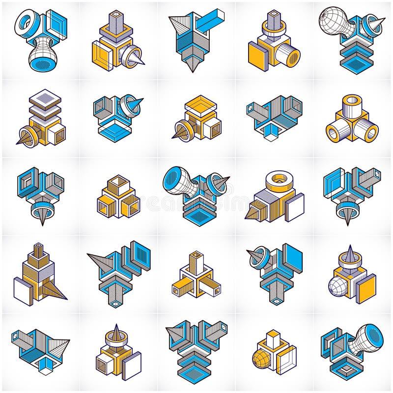 vecteurs de l'ingénierie 3D, collection abstraite de formes illustration de vecteur