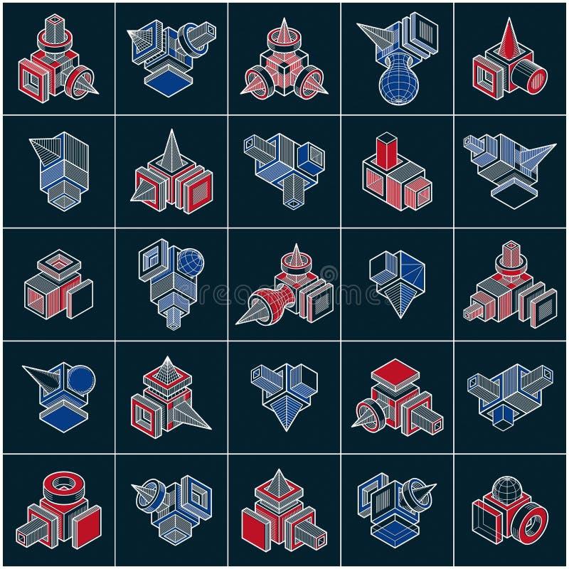 vecteurs de l'ingénierie 3D, collection de formes abstraites illustration de vecteur