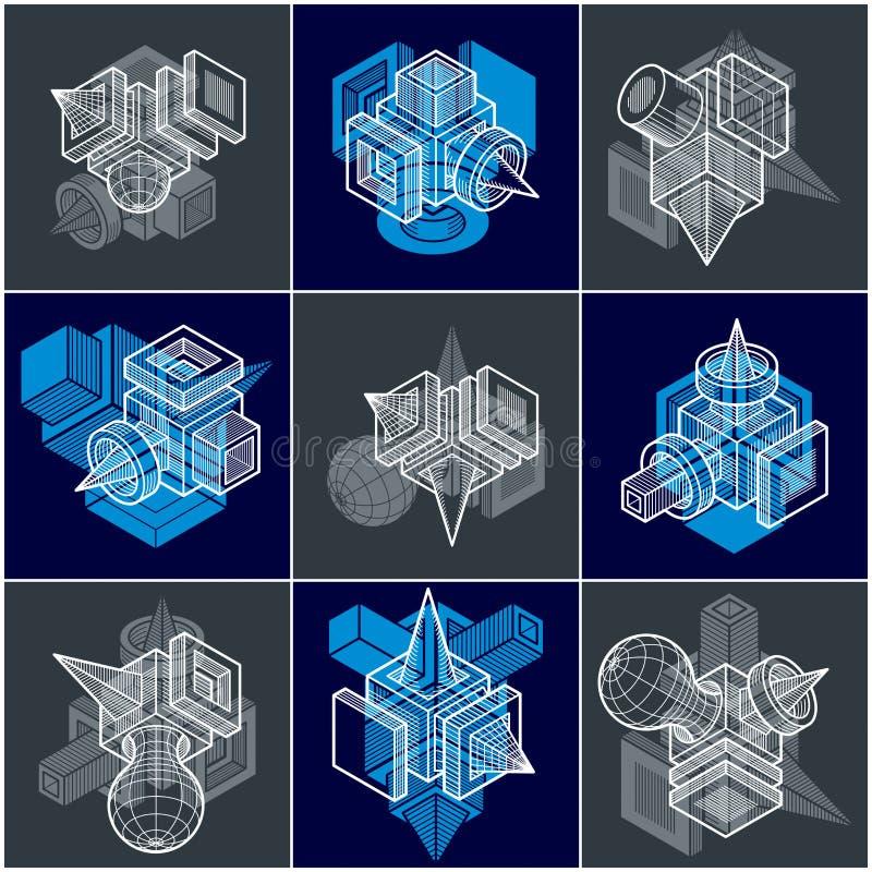 vecteurs de l'ingénierie 3D, collection de formes abstraites illustration stock