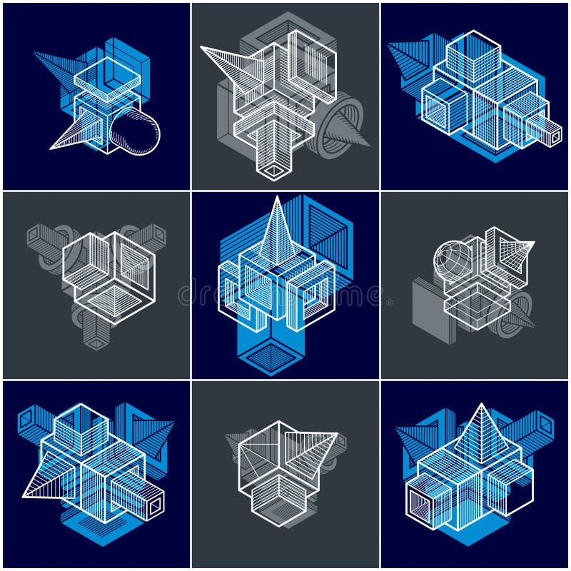 vecteurs de l'ing?nierie 3D, collection de formes abstraites illustration stock