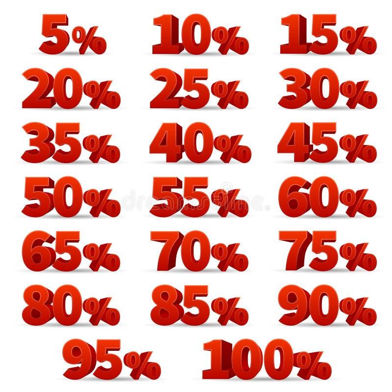 Vecteurs de nombres de la remise 3d réglés 10 outre des signes de magasin de pour cent illustration libre de droits