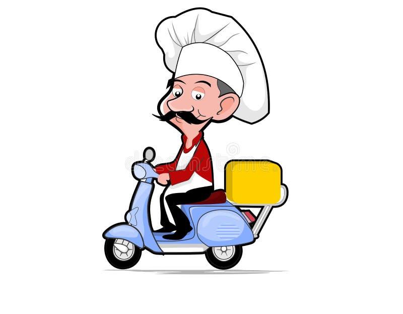 Vecteurs de style de bande dessinée de scooter d'équitation de chef illustration de vecteur