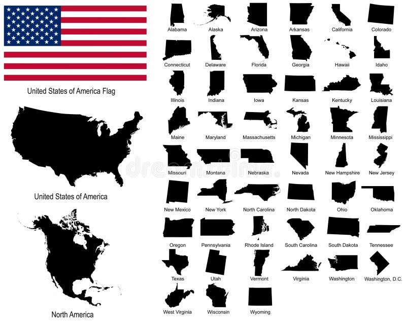 Vecteurs des états des Etats-Unis illustration de vecteur