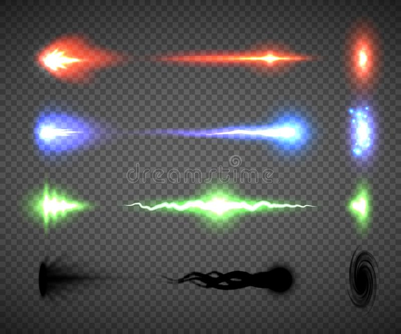 Vecteurs futuristes d'effet de tir d'énergie, science fiction ou graphiques de jeu d'ordinateur d'éclair, de projectile et de cou illustration de vecteur