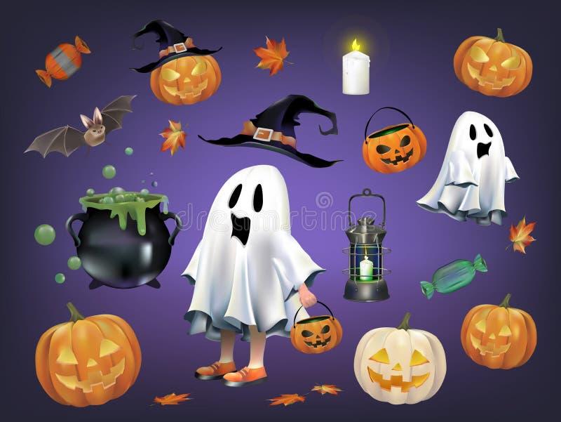 Vecteurs orientés de potiron et de fantôme de Halloween illustration libre de droits