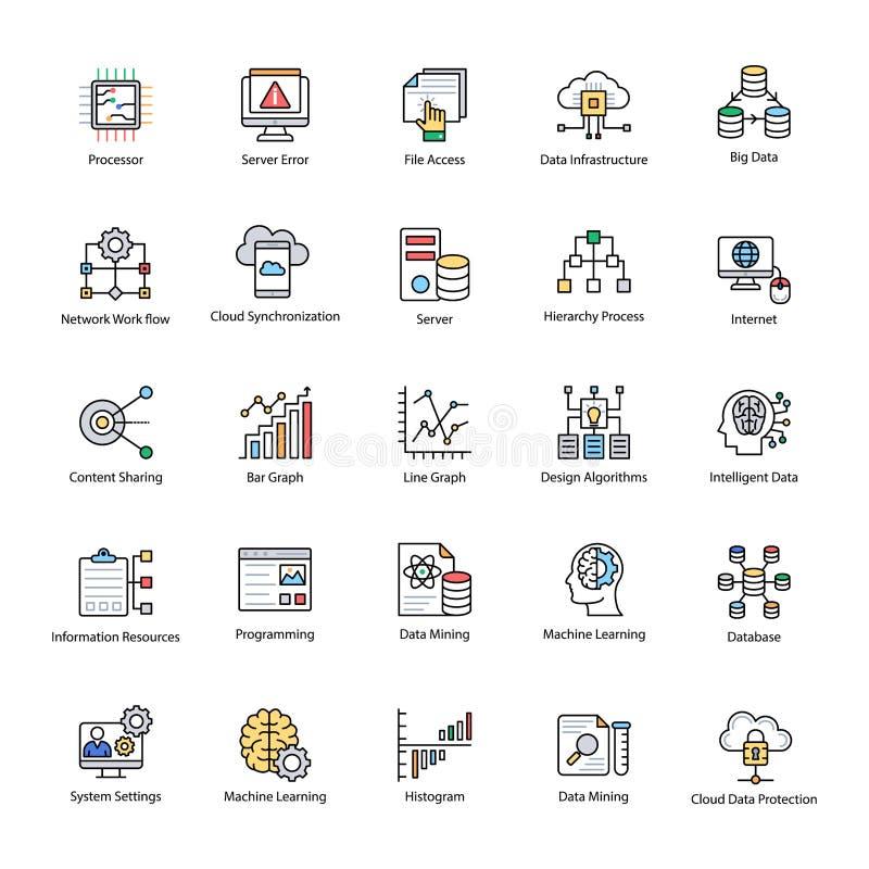 Vecteurs plats de la Science de données réglés illustration de vecteur