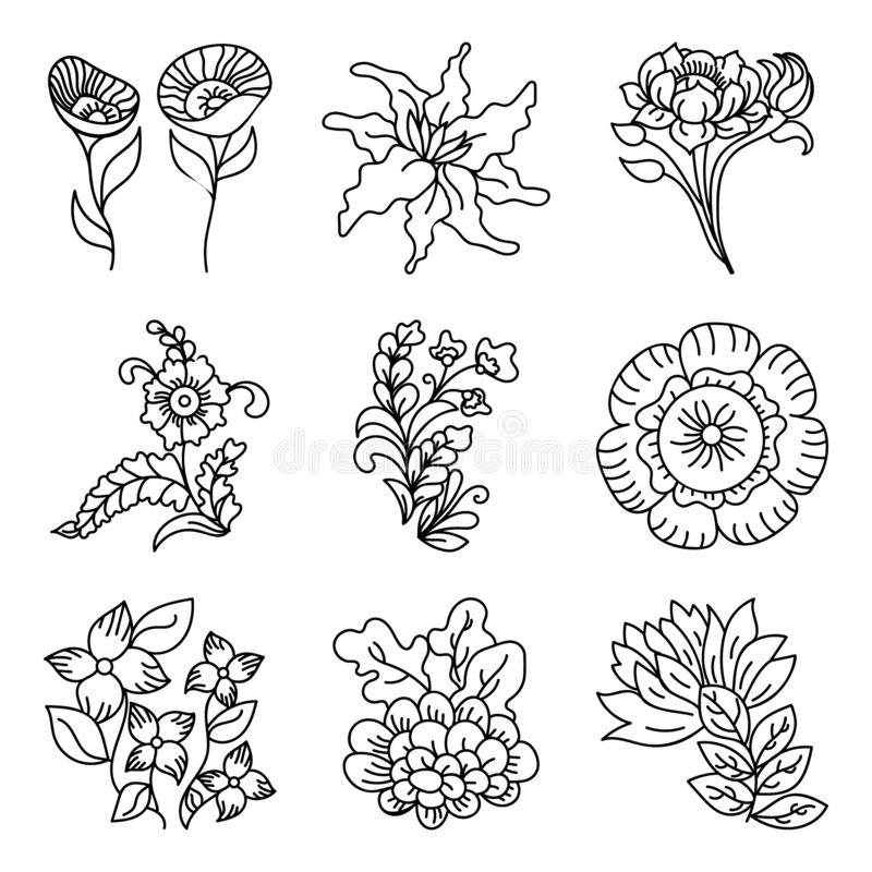 Vecteurs tirés par la main décoratifs de conceptions florales illustration stock
