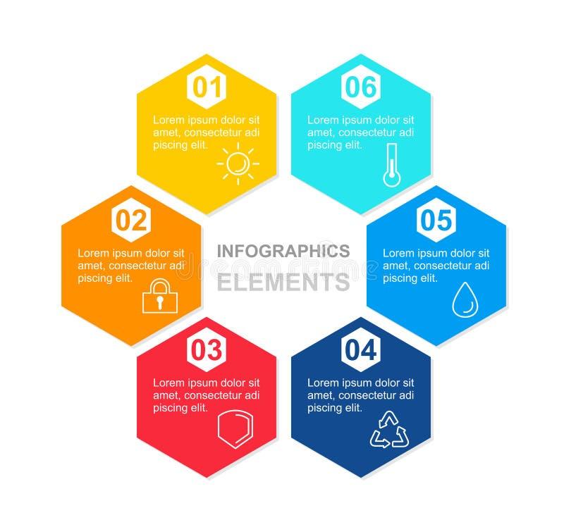 Vecto例证与六角形五颜六色的元素的infographics文本的概念与象和地方 图模板 库存例证